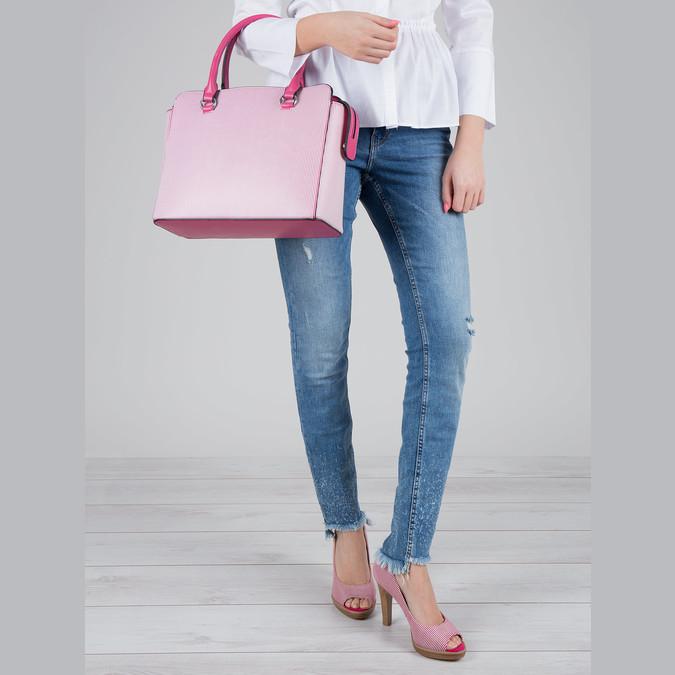 Pruhovaná dámska kabelka bata, ružová, 961-5747 - 17
