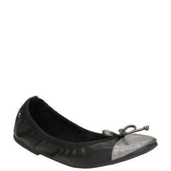 Dámske baleríny s pružným lemom bata, čierna, 521-2601 - 13
