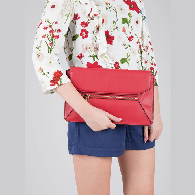 Červená kožená listová kabelka bata, červená, 964-5219 - 19