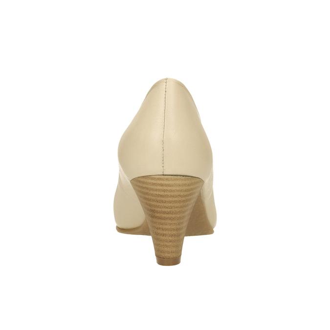 Kožené lodičky na zkosenom podpätku bata, béžová, 624-1600 - 17