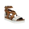 Kožené sandále na flatforme bata, hnedá, 666-1605 - 13
