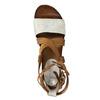 Kožené sandále na flatforme bata, hnedá, 666-1605 - 19