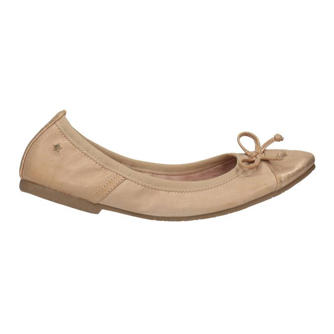 Dámske baleríny s pružným lemom bata, béžová, 521-5601 - 15