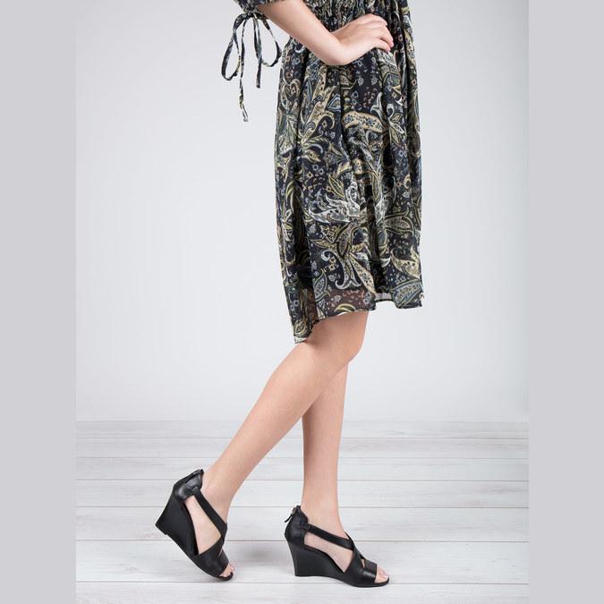 Čierne kožené sandále bata, čierna, 766-6601 - 18