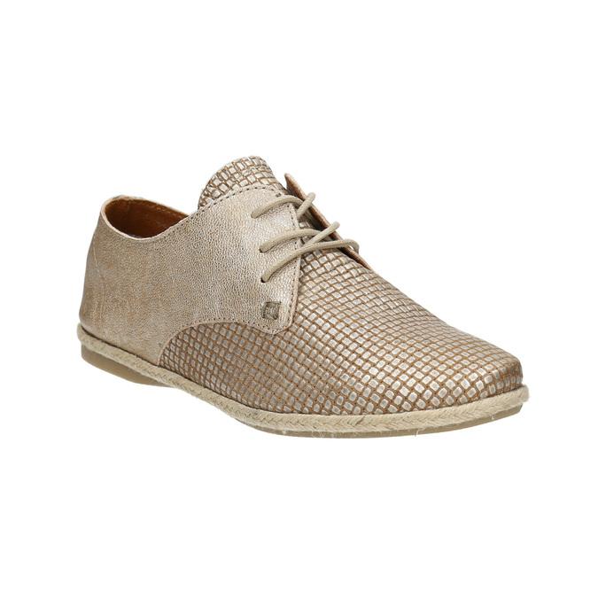Dámske kožené poltopánky bata, béžová, 526-8629 - 13