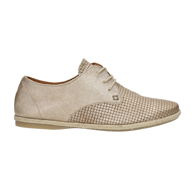 Dámske kožené poltopánky bata, béžová, 526-8629 - 15