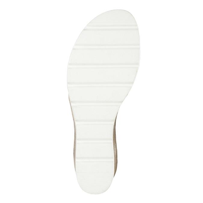 Kožené sandále na kline s perforáciou bata, šedá, 666-2606 - 26