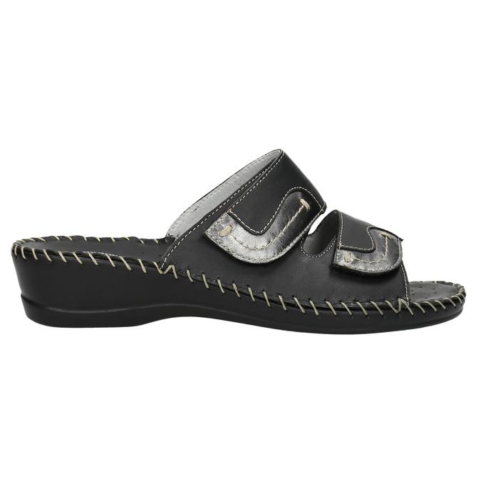 Kožená domáca obuv comfit, čierna, 674-6600 - 15