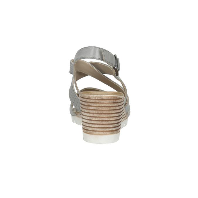 Kožené sandále na kline s perforáciou bata, šedá, 666-2606 - 17