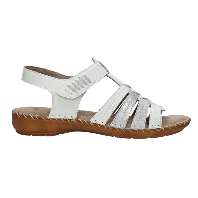 Kožené sandále šírky H bata, biela, 566-1604 - 15