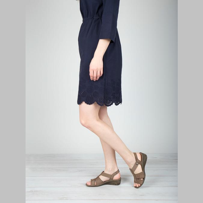 Kožené sandále na klinovom podpätku bata, hnedá, 666-4609 - 18