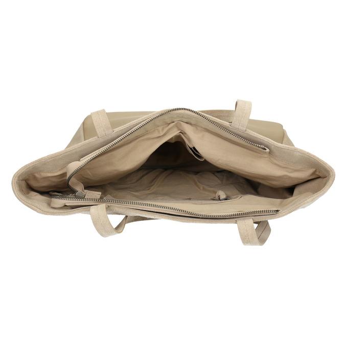 Kožená kabelka s vreckom bata, béžová, 963-8191 - 15