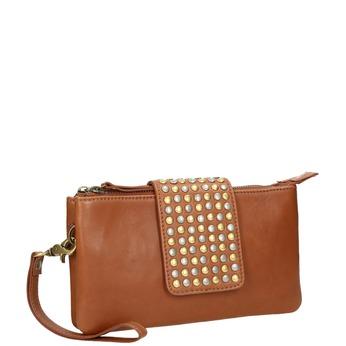 Kožená listová kabelka s cvokmi bata, hnedá, 964-3226 - 13