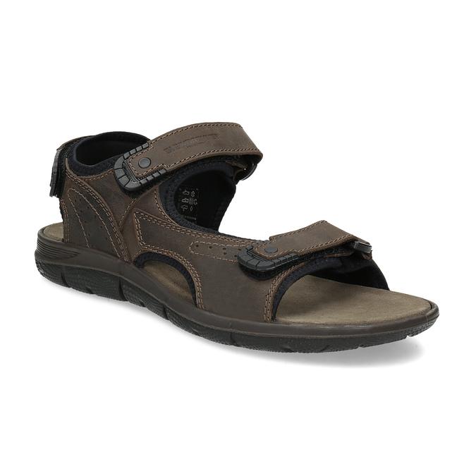 Pánske hnedé kožené sandále na suchý zips weinbrenner, 866-4631 - 13