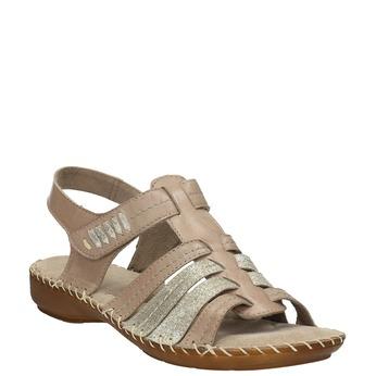 Kožené sandále šírky H bata, hnedá, 566-4604 - 13