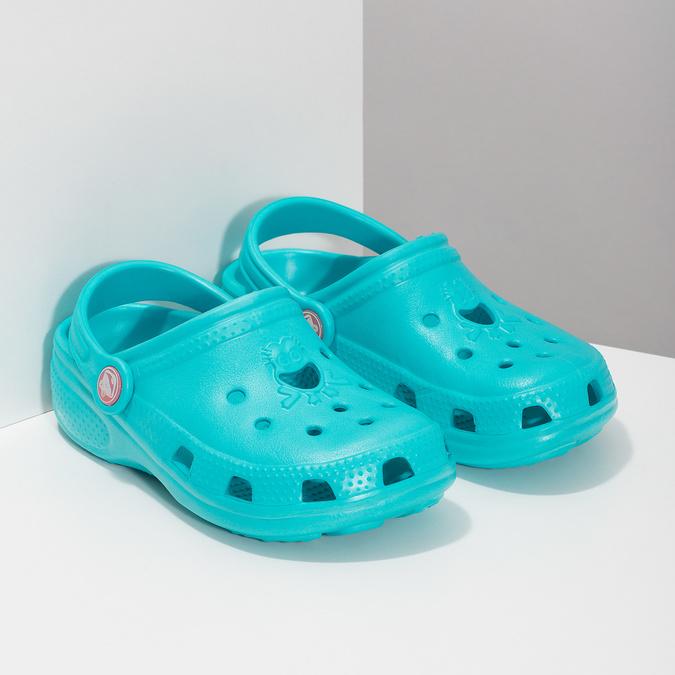 Tyrkysové detské sandále Clogs coqui, modrá, 372-9605 - 26