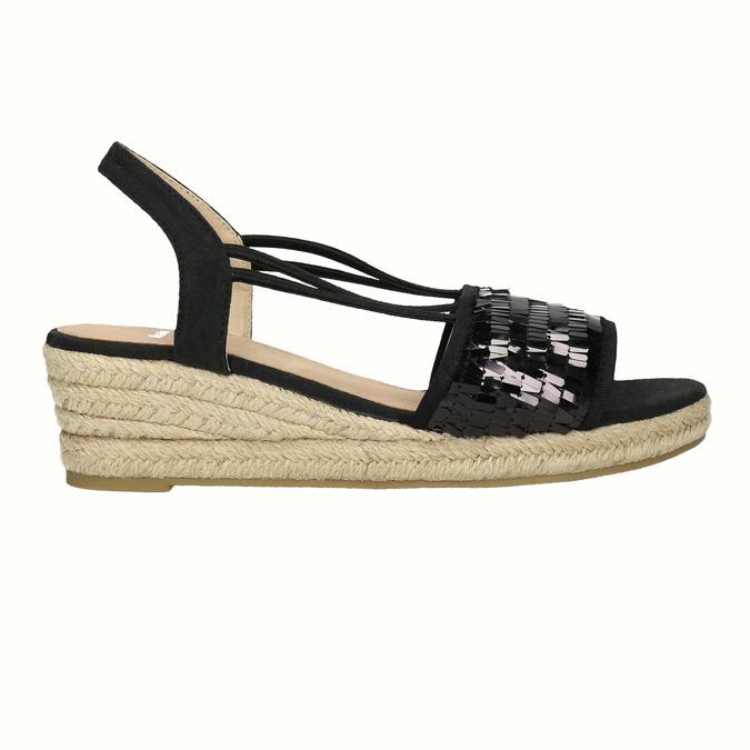 Dámske sandále na prírodnej platforme bata, čierna, 661-6608 - 15