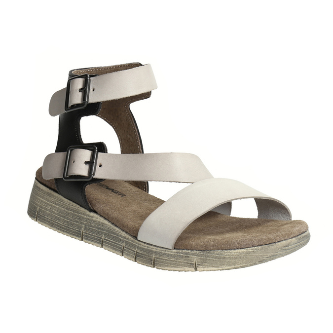 Dámske kožené sandále weinbrenner, šedá, 566-2627 - 13