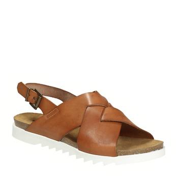 Dámske kožené sandále s prepletením weinbrenner, hnedá, 566-4628 - 13