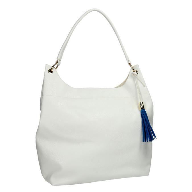 Biela kabelka s modrým strapcom bata, biela, 961-1688 - 13