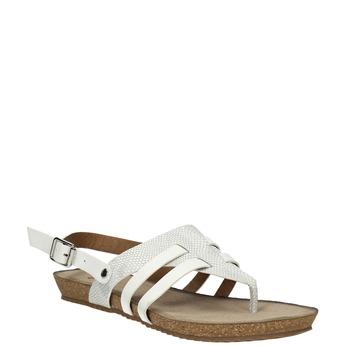 Korkové sandále s remienkom mezi prstami bata, biela, 561-1606 - 13