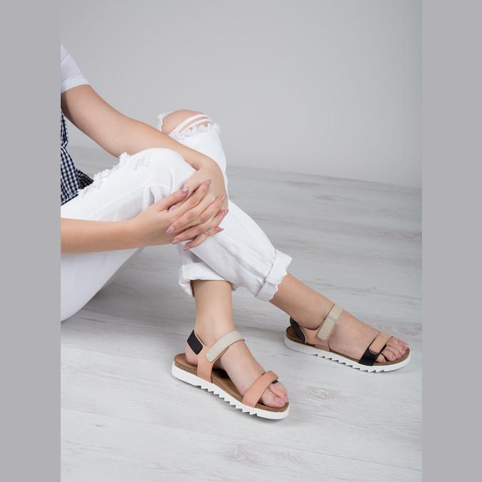 Kožené dámske sandále na suchý zips weinbrenner, ružová, 566-3630 - 18
