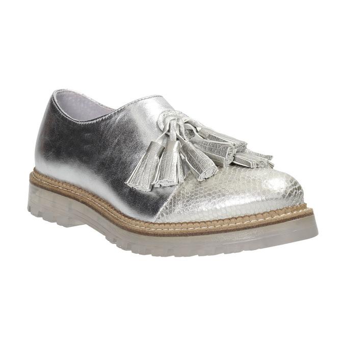 Dámske strieborné kožené poltopánky bata, strieborná, 536-1600 - 26