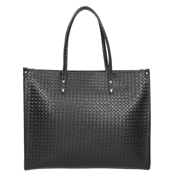 Kabelka s pleteným vzorom bata, čierna, 961-6540 - 17