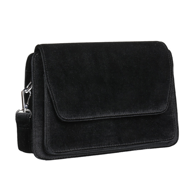 Zamatová dámska Crossbody kabelka bata, čierna, 969-6662 - 13
