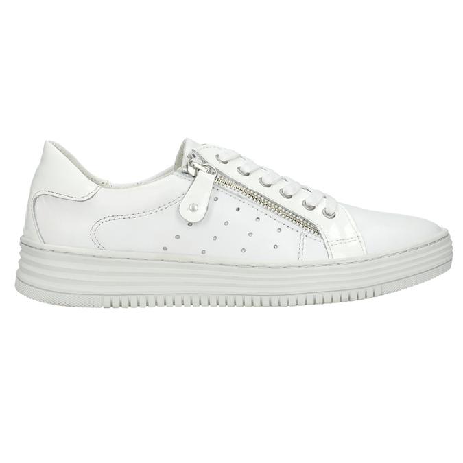 Kožené dámske tenisky so zipsom bata, biela, 526-2630 - 15