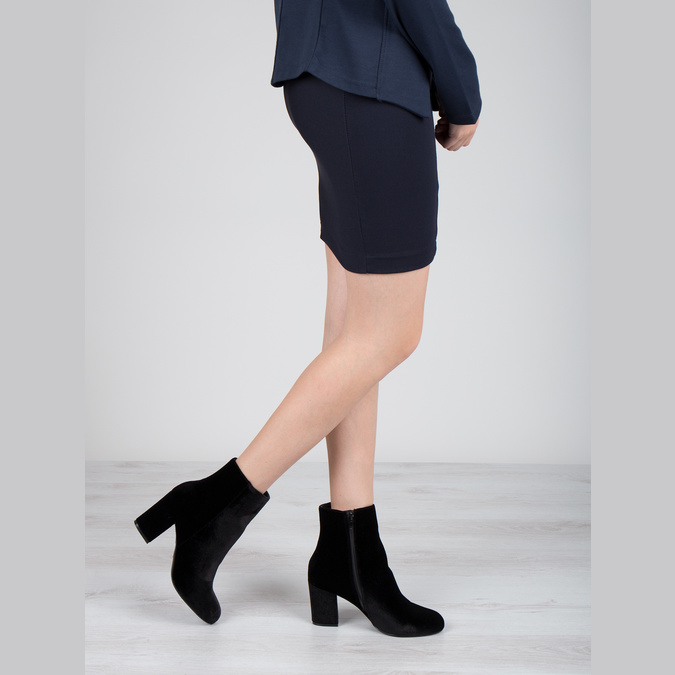 Čierne dámske čižmy na podpätku bata, čierna, 799-6616 - 18