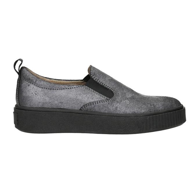 Dámske Slip-on na čiernej flatforme bata, šedá, 516-1613 - 15