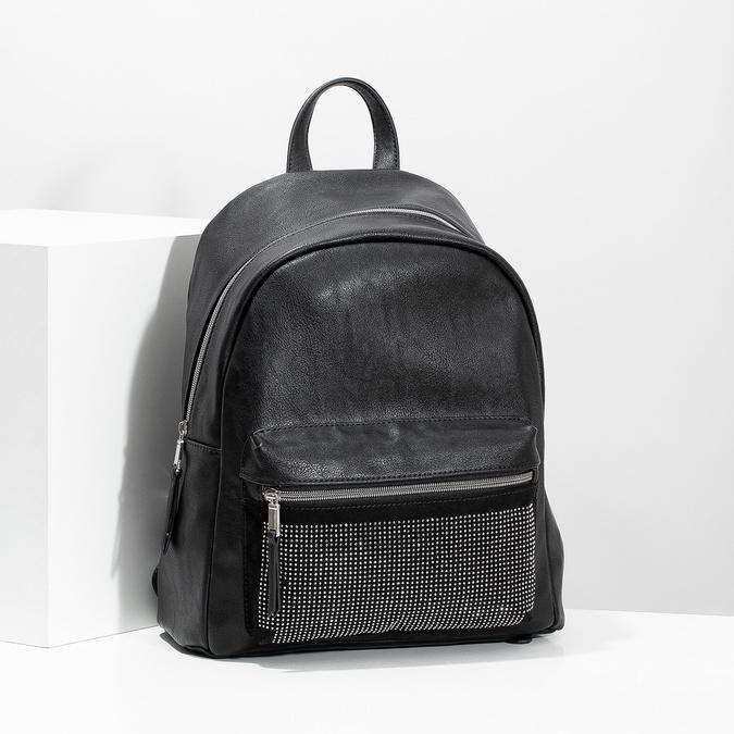Čierny dámsky batoh s kamienkami bata, čierna, 961-6855 - 17