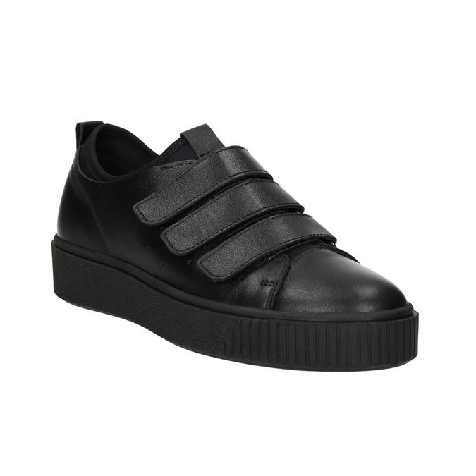 Čierne kožené tenisky na suchý zips bata, čierna, 526-6646 - 13