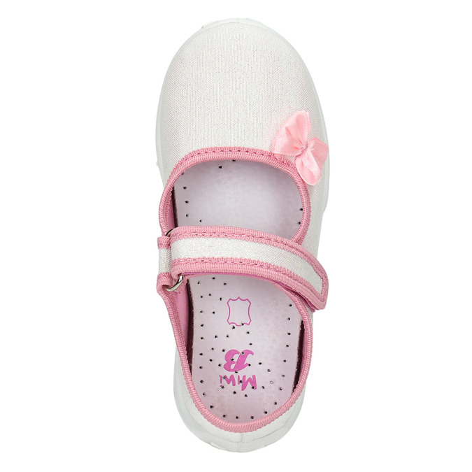 Detská domáca obuv s mašličkou mini-b, biela, 379-1214 - 19
