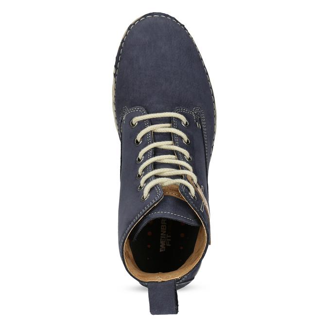 Kožená kotnikova obuv na šněrování weinbrenner, modrá, 594-9323 - 17