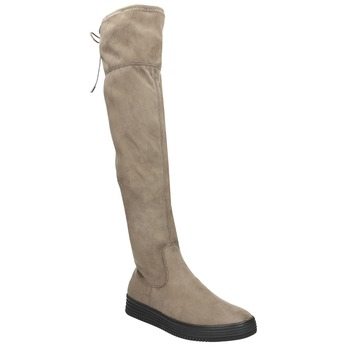 Hnedé dámske čižmy nad kolená bata, hnedá, 699-3634 - 13