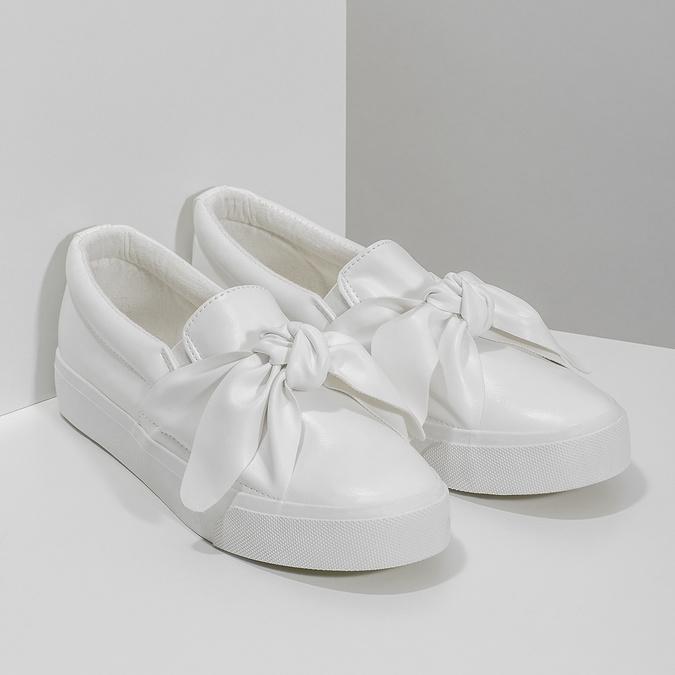 Biela dámska Slip-on obuv s mašľou north-star, biela, 511-1606 - 26