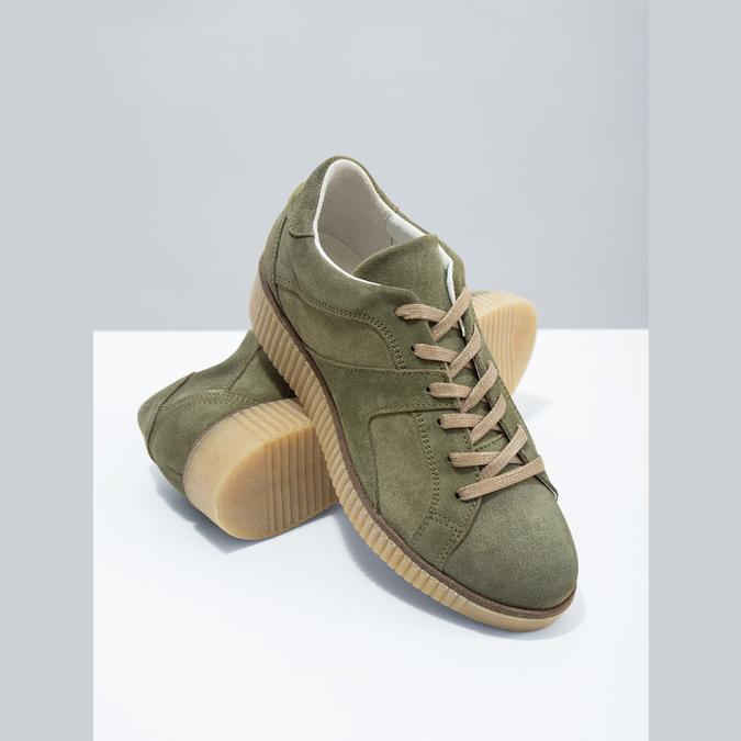 Dámske kožené khaki tenisky bata, zelená, 523-7604 - 19