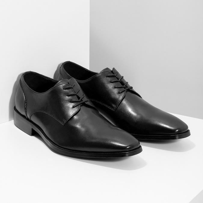 Čierne kožené Derby poltopánky bata, čierna, 824-6405 - 26