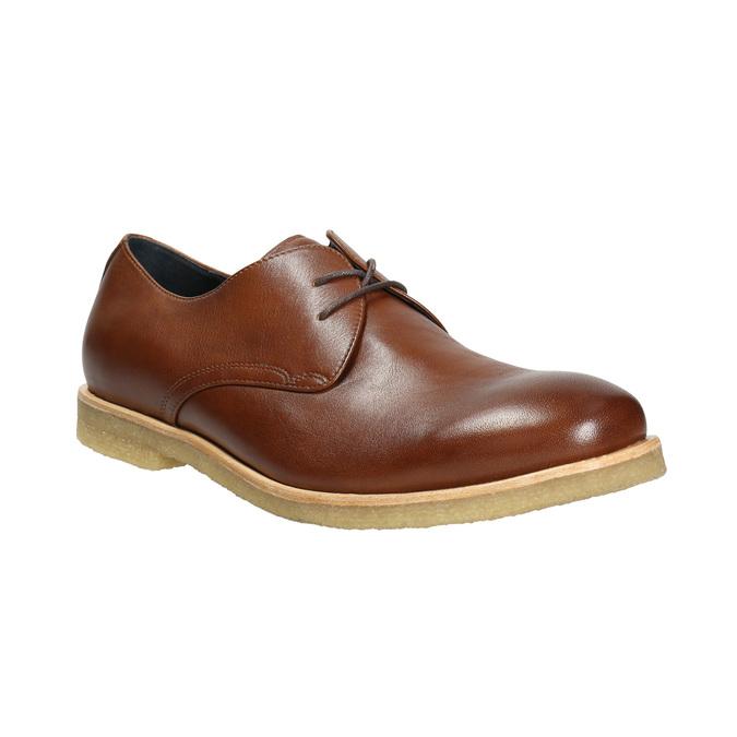 Kožené poltopánky s ležérnou podrážkou bata, hnedá, 826-3412 - 13
