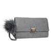 Šedá listová kabelka s pom-pom ozdobou bata, šedá, 969-2666 - 13