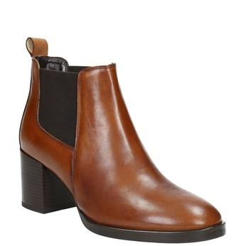 Členková kožená obuv na podpätku bata, hnedá, 694-4641 - 13