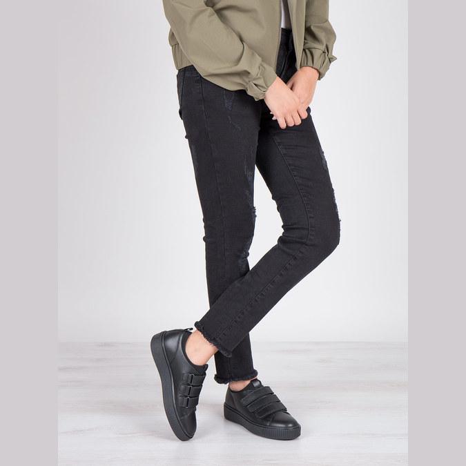 Čierne kožené tenisky na suchý zips bata, čierna, 526-6646 - 19