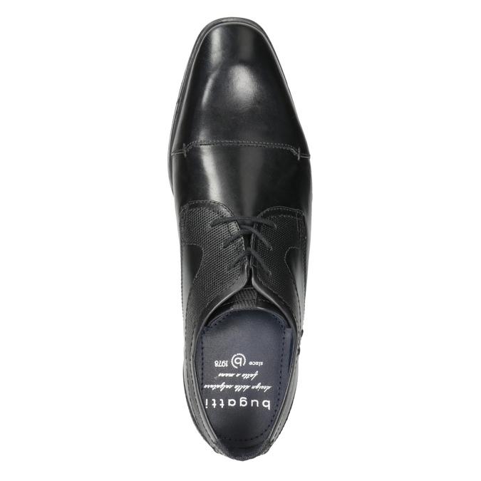 Čierne kožené poltopánky s prešitím bugatti, čierna, 824-6008 - 15