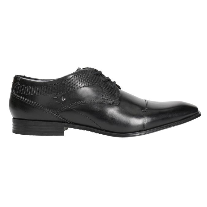 Čierne kožené poltopánky s prešitím bugatti, čierna, 824-6008 - 26