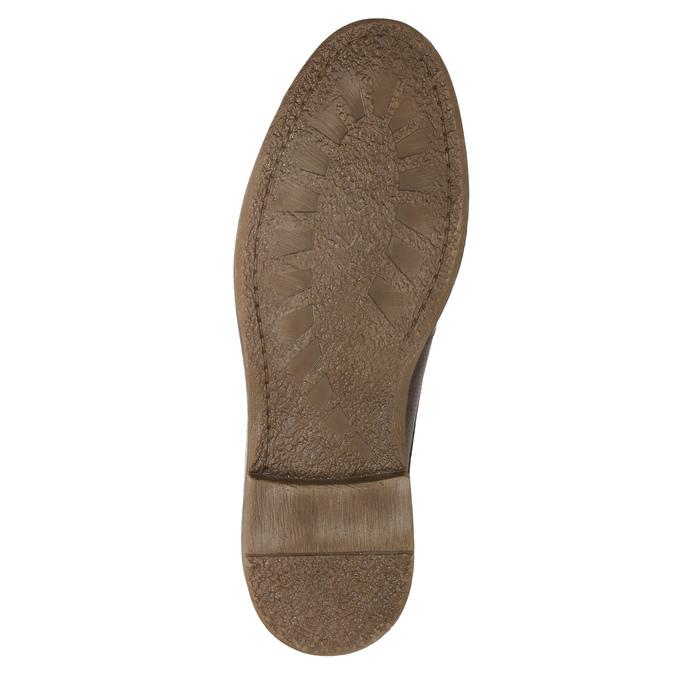 Hnedé kožené poltopánky s prešitím bata, hnedá, 826-4915 - 19