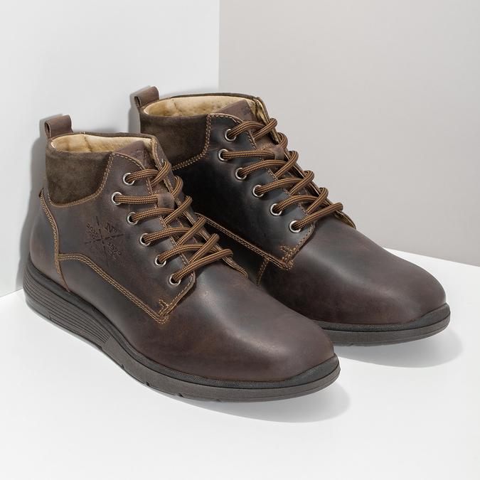 Pánska kožená členková obuv s prešitím bata, hnedá, 846-4645 - 26