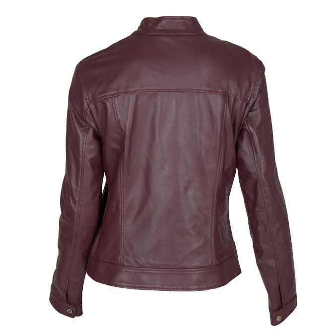 Vínová kožená bunda bata, červená, 974-5175 - 26