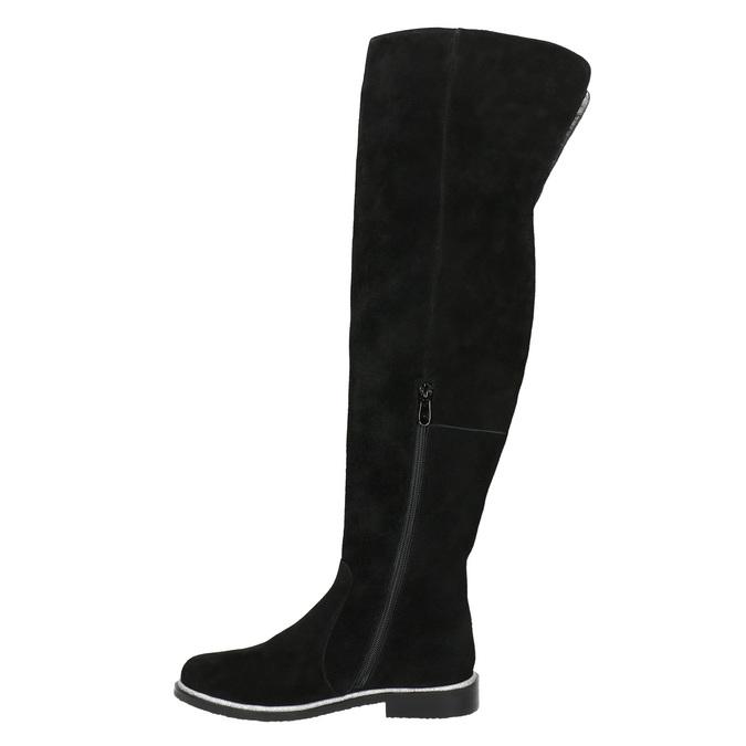 Čižmy nad kolená z brúsenej kože bata, čierna, 593-6605 - 26